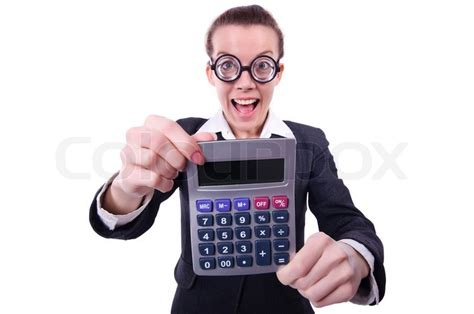 accountant with calculator stock photo