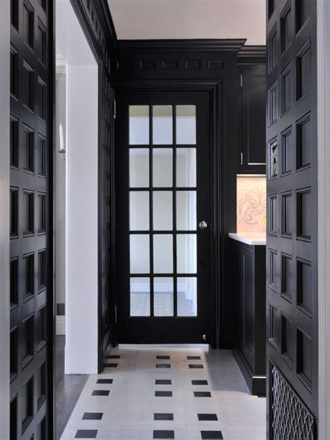 black  white marble floor contemporary entrance