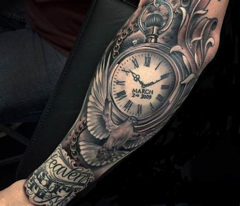 memorial tattoo sleeve designs grey ink memorial clock and flying dove on