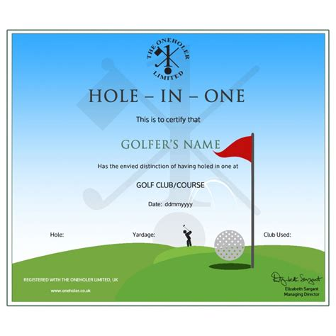 Free In One Certificate Template in one golf certificate