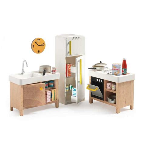 dollhouse furniture kitchen dollhouse kitchen furniture accessory djeco dj07823 mon