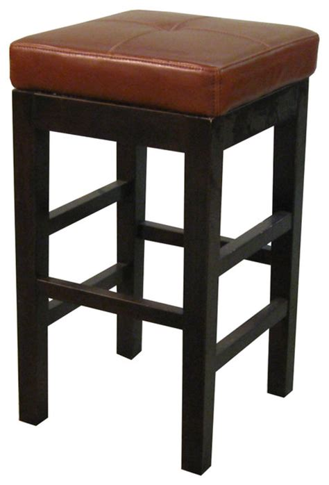 Cognac Leather Counter Stool by Valencia Backless Leather Counter Stool Cognac