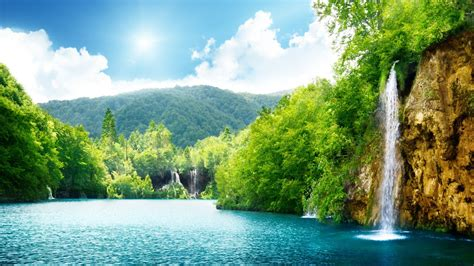 natural waterfall summer lake trees full hd