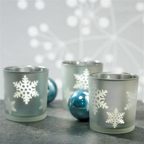 snowflake tea light holders laser carved glass snowflake tea light holders