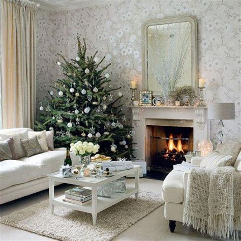 Interior Design Christmas Decorating For Your Home | home living room interior design white and silver