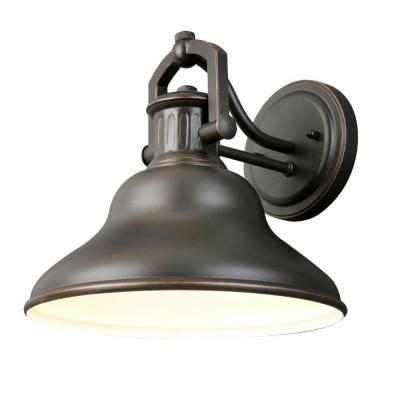 outdoor lighting at home depot 1 light outdoor rubbed bronze wall lantern hrr1691a at