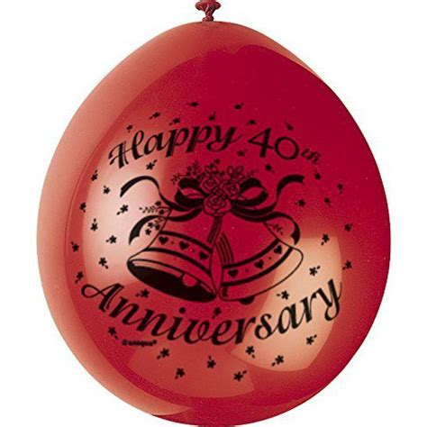 Happy 40th Anniversary Latex Balloons   80337   Party Shop