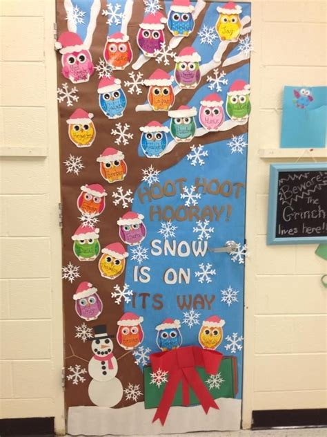 owl christmas holiday classroom door my classroom