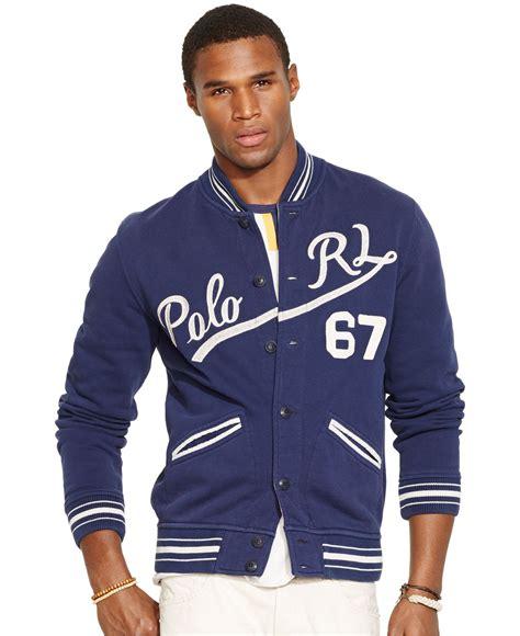 Jaket Basball Merah Putih Polos 1 polo ralph fleece baseball jacket in blue for lyst