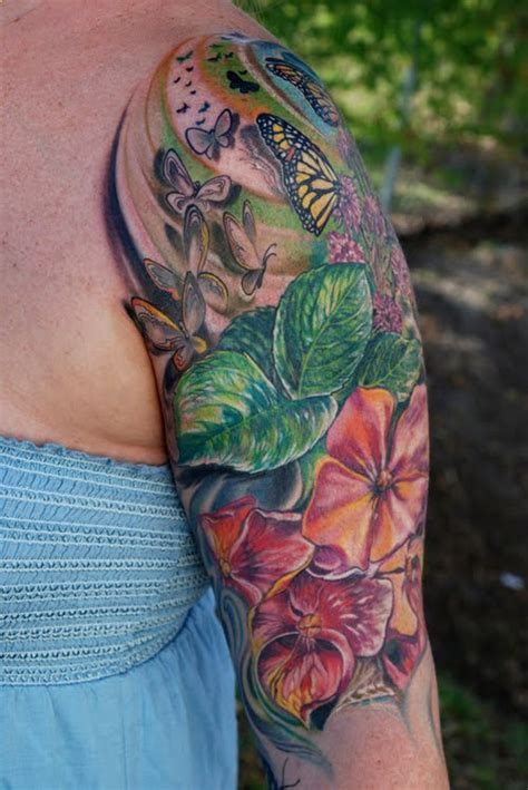 butterfly sleeve tattoo cool sleeve butterfly and flowers