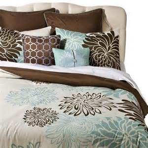 brown and blue comforter sets anya 8 floral print bedding set blue brown target