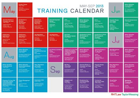 calendar training schedule calendar template printable