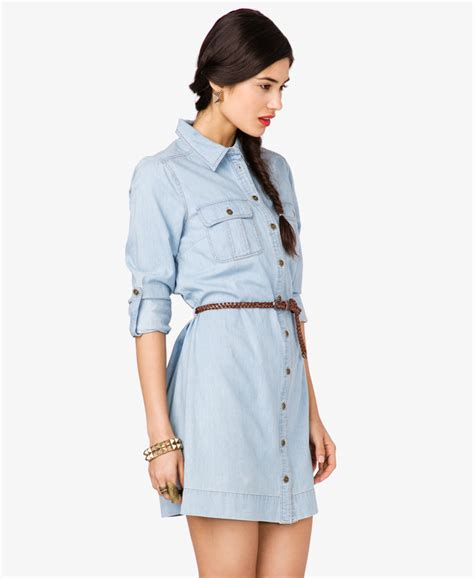 Dress Denim Careena Belt lyst forever 21 denim shirt dress with belt in blue