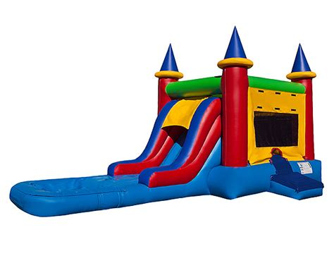 bounce house with waterslide ez castle bounce house and water slide combo rental kicks and giggles usa the