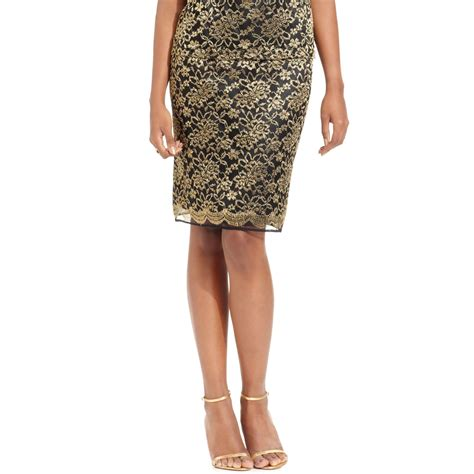 tahari metallic lace pencil skirt in gold black gold lyst