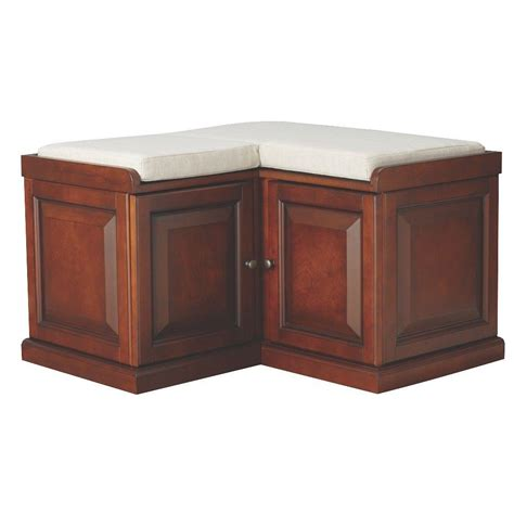 corner storage benches home decorators collection walker chestnut storage bench