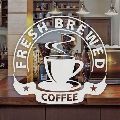 Sticker Coffee Shop fresh brewed coffee window sign sticker restaurant graphic decal frosted vinyl cafe ideas
