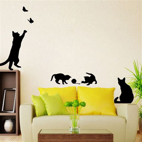 cute home decor 1x removable wall sticker 4 cute cats playing decal kitten