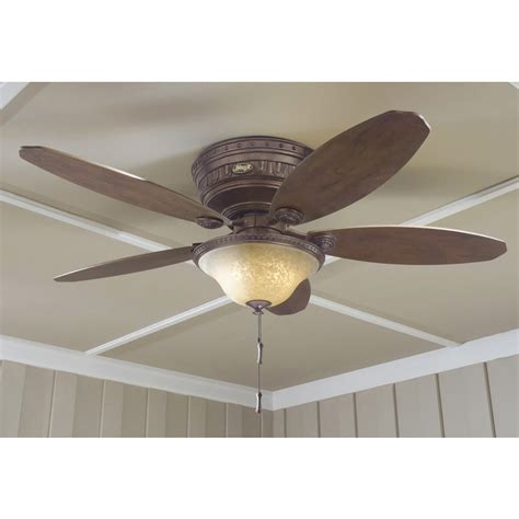 hunter flush mount ceiling fans shop hunter avignon 52 in tuscan gold flush mount indoor