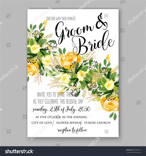 Wedding Invitation Card Suite With Flower Templates by Wedding Invitation Card Template Yellow Stock Vector