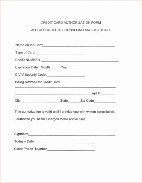 authorization letter of credit card 8 credit card authorization form template authorization