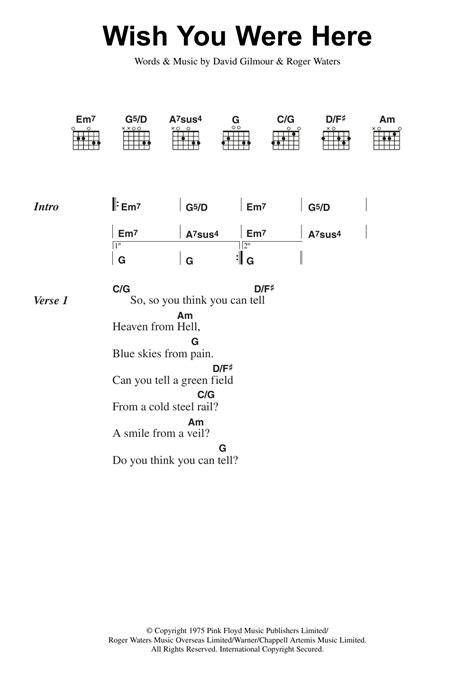 ukulele tutorial wish you were here wish you were here by pink floyd guitar chords lyrics