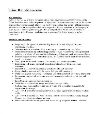 10 driver description templates pdf doc free