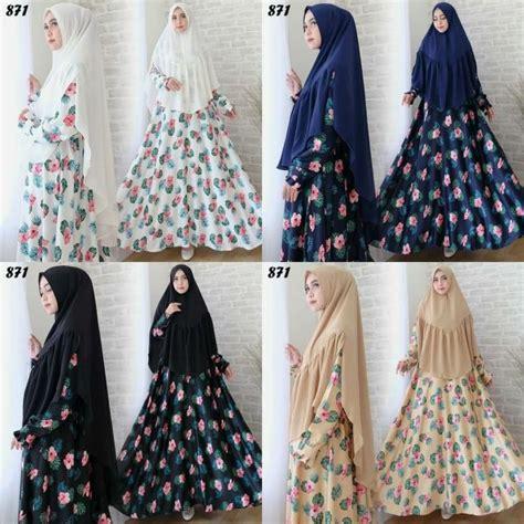Gamis Babat Motif 63navy syari maxmara motif bunga c871 baju muslim cantik