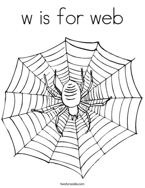 W Is For Web Coloring Page Twisty Noodle Coloring Pages Websites