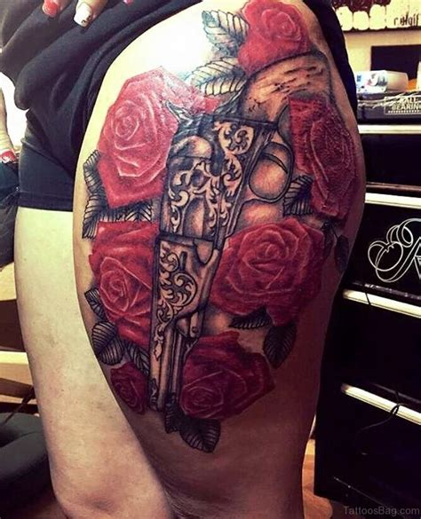 guns and roses thigh tattoo 72 brilliant gun tattoos design on thigh