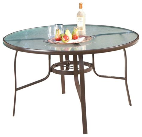 glass top patio dining table fastfurnishings 48 quot glass top outdoor patio dining