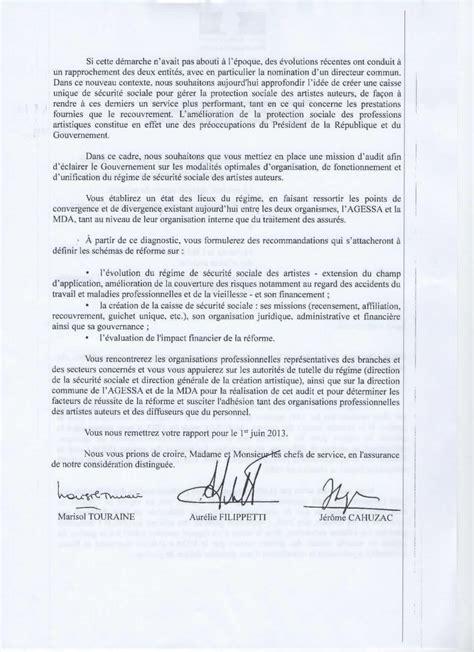 Exemple De Lettre Administrative En Forme Personnelle Important Lettre Des Trois Ministres Affaires Sociales Culture Budget La Maison Des Artistes
