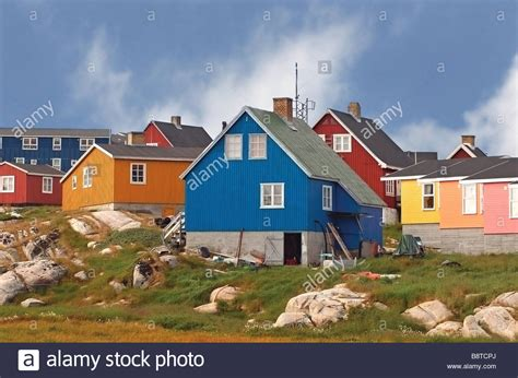 Colored Houses traditional brightly colored houses in a greenland fishing
