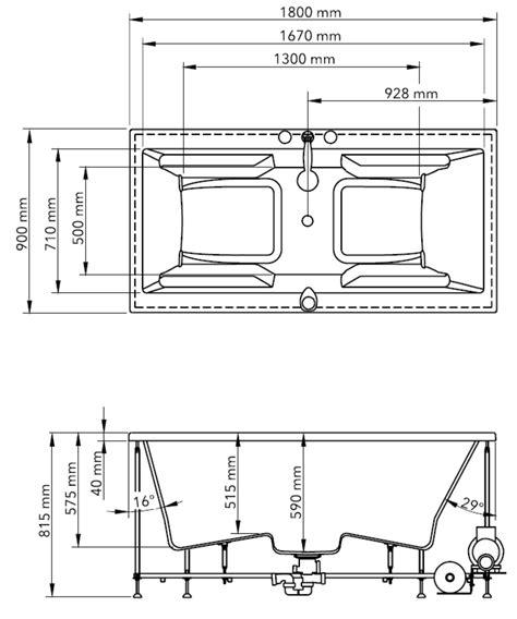 Abmessungen Badewanne by Badewanne 180 X 90 X 60cm Loungepool 840 Weiss