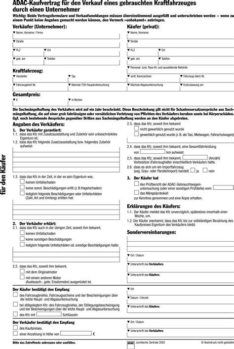 Kaufvertrag Auto Privat An Gewerblich by Adac Verkauf Unternehmer An Privatperson Adac