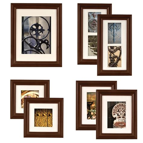 Picture Hanging Template Kit by Gallery 7 Walnut Wood Photo Frame Wall