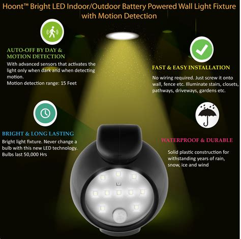 Battery Powered Light Fixture Hoont Bright Led Indoor Outdoor Battery Powered Wall Light Fixture With Motion Ebay