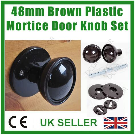 Plastic Door Knob Covers by 8x 48mm Brown Plastic Bakelite Mortice 2 House Door