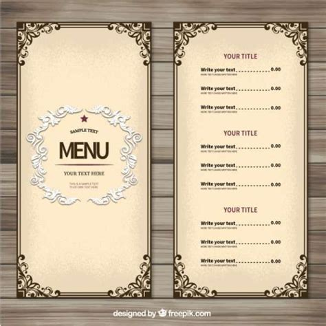 restaurant menu free template 25 best ideas about menu templates on