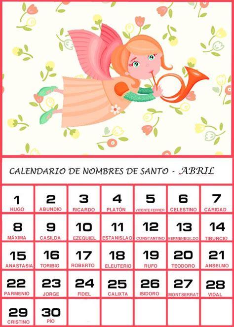 Calendario Para Bebes Calendario De Los Nombres De Santos De Abril