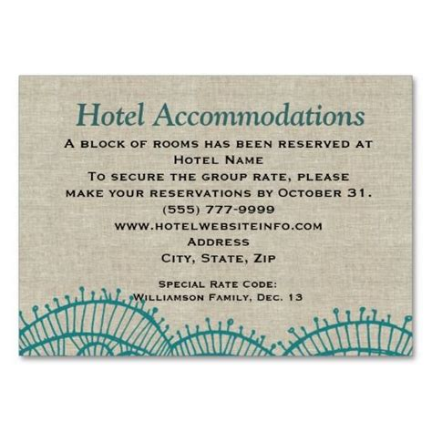 what to write on accommodation cards for wedding linen teal lace hotel accommodation insert cards