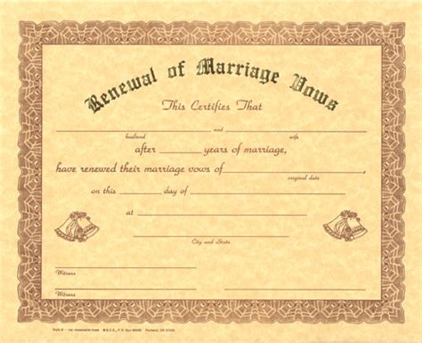 renewal of wedding vows certificate template