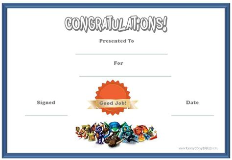 free reward card template skylanders behavior charts and certificates