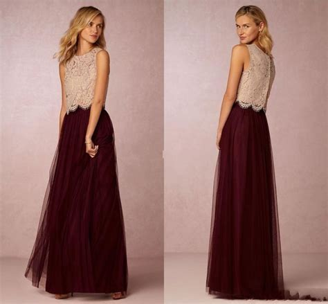 Sarya Maxi burgundy tutu skirt bridesmaid dresses 2016 chagne lace top a line tulle two pieces prom
