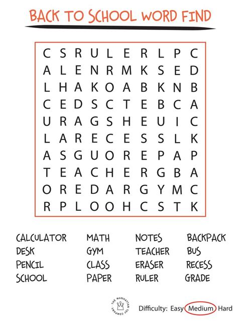 Search By School Back To School Word Search Free Printable Back To School