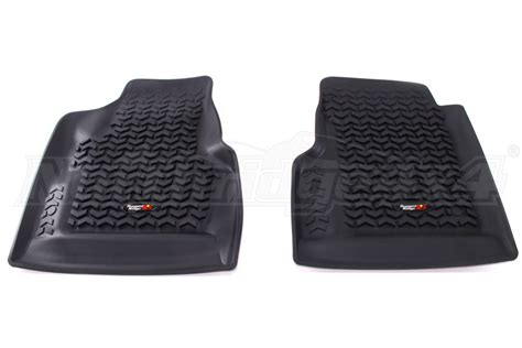 rugged floor mats rugged ridge front floor liner black jeep rubicon 2004 2006 12920 11