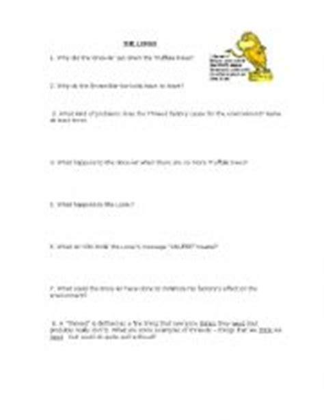 The Lorax Worksheet