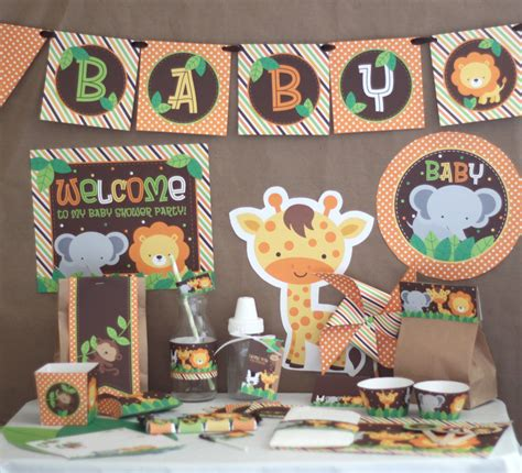 Jungle Themed Baby Shower Decorations by Safari Jungle Baby Shower Decorations Printable Instant
