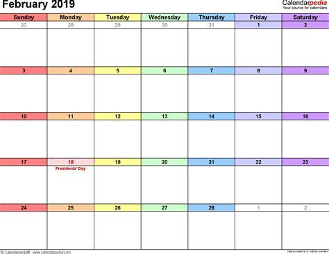 Calendar 2019 February February 2019 Calendars For Word Excel Pdf