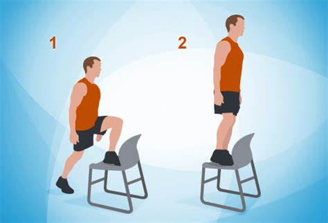 Chair Step Ups by The 7 Minute Workout In Pictures